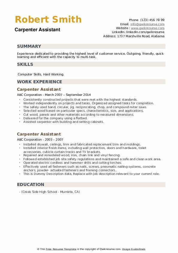Carpenter Assistant Resume example