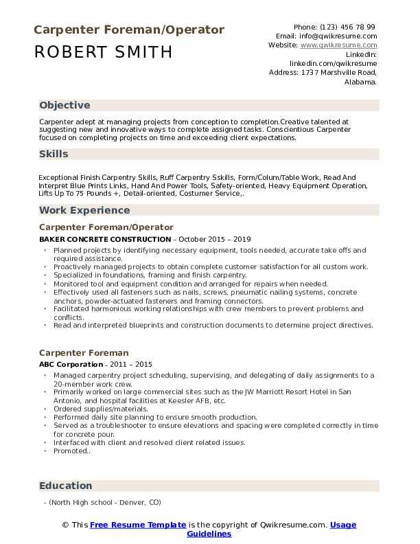 Carpenter Foreman/Operator Resume Sample