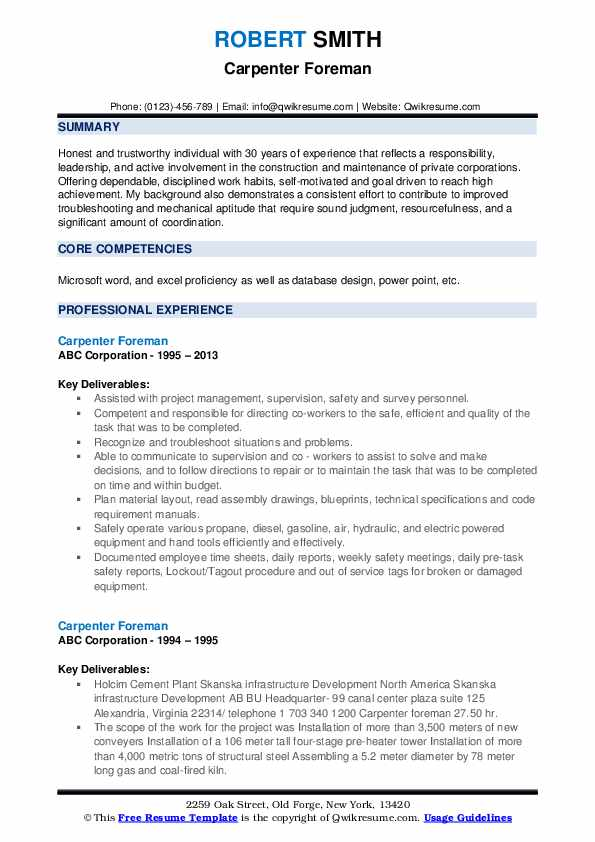 Carpenter Foreman Resume example