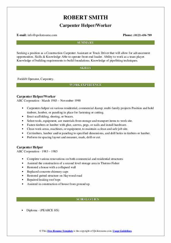 Carpenter Helper/Worker Resume Format