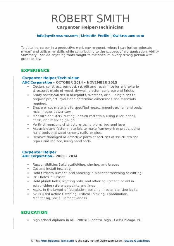 Carpenter Helper/Techinician Resume Format