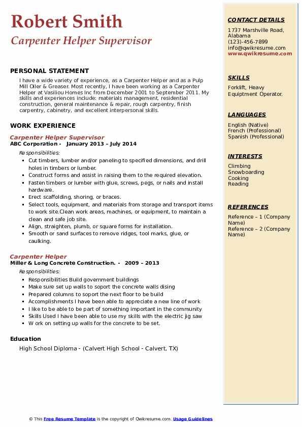 Carpenter Helper Supervisor Resume Model