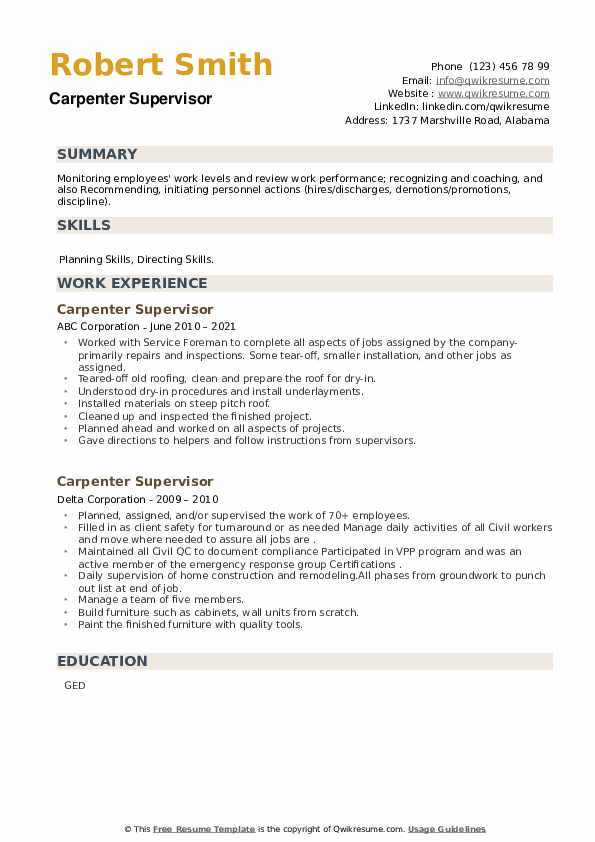 Carpenter Supervisor Resume example