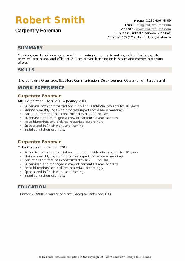 Carpentry Foreman Resume example