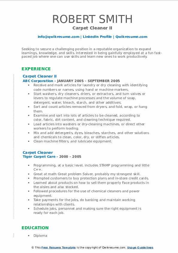 carpet cleaner resume samples  qwikresume
