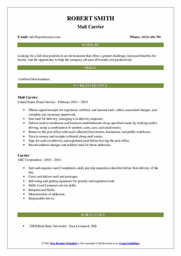 Mail Carrier Resume Example