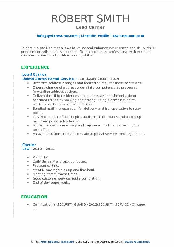 Lead Carrier Resume Example