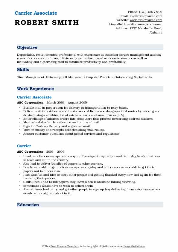 Carrier Associate  Resume Format