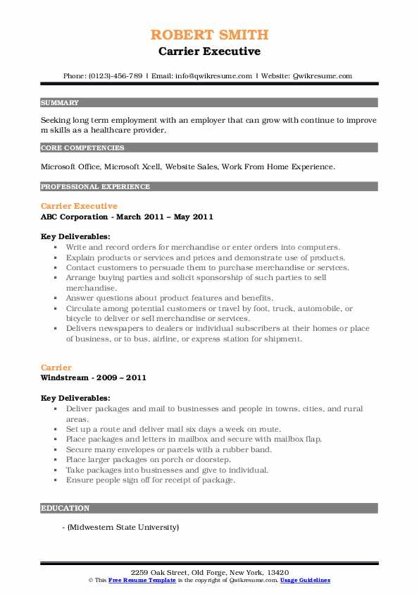 Carrier Executive Resume Sample