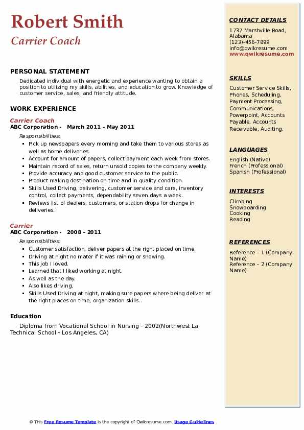 Carrier Coach Resume Format