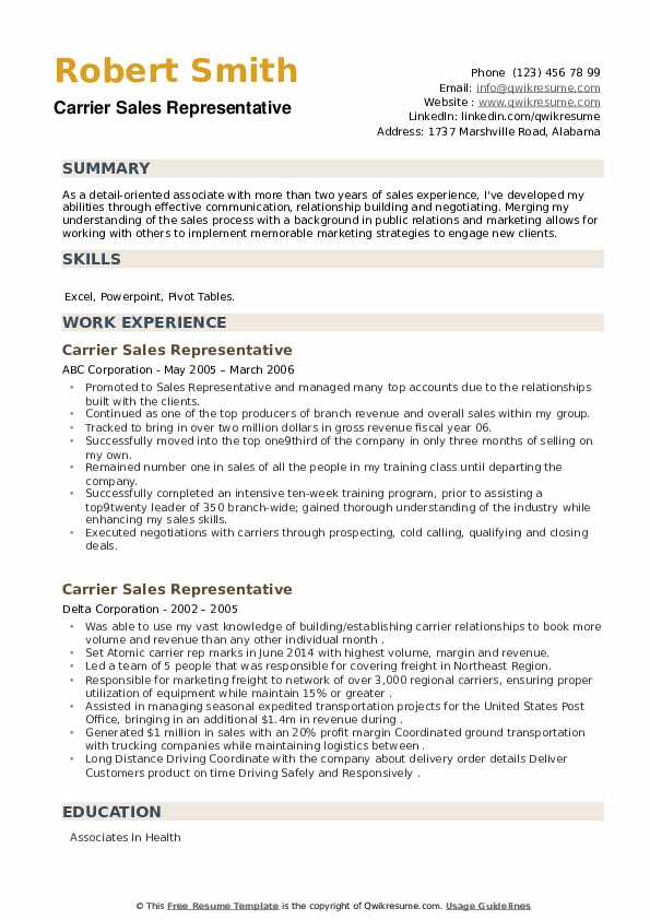 Carrier Sales Representative Resume example