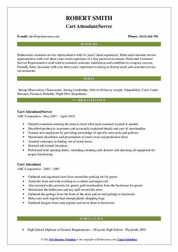 Cart Attendant/Server Resume Model