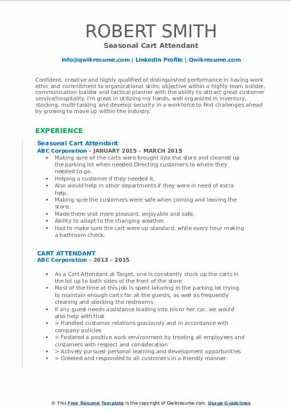 Seasonal Cart Attendant Resume Model