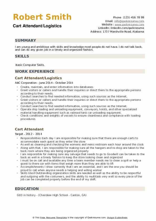 Cart Attendant/Logistics Resume Format