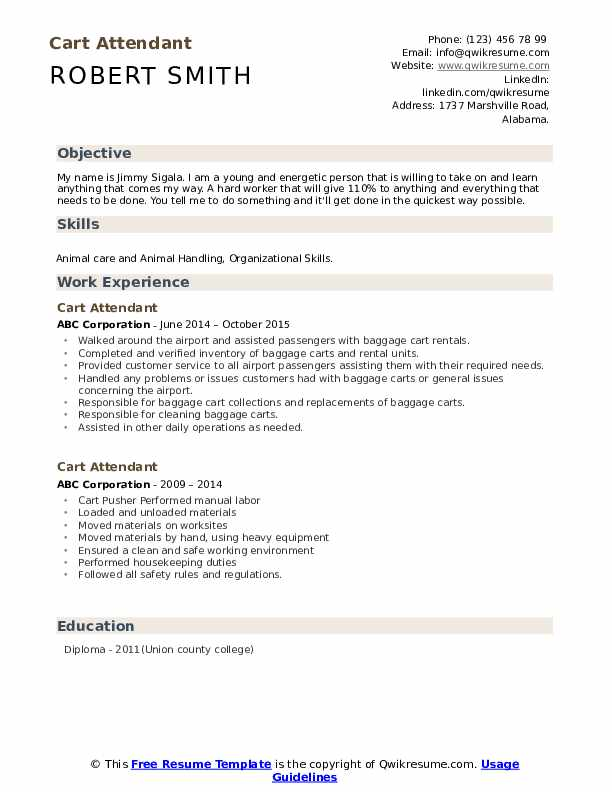 Cart Attendant Resume example