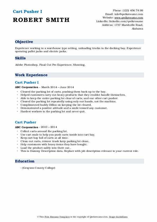 cart pusher resume samples
