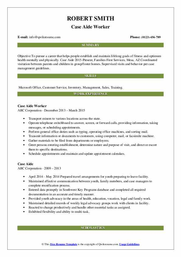 Case Aide Worker Resume Template