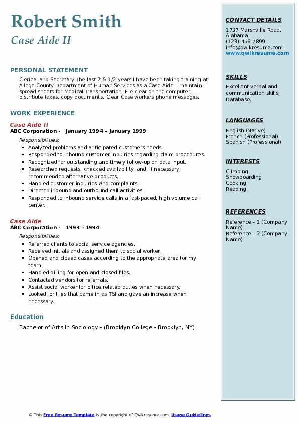 Case Aide Resume Samples Qwikresume