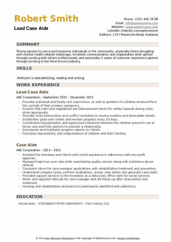 Lead Case Aide Resume Model