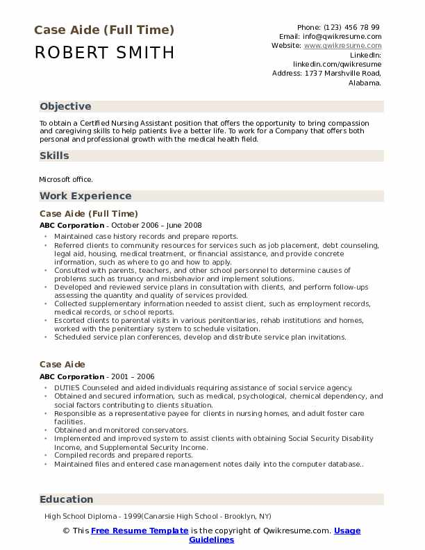 Case Aide (Full Time) Resume Model