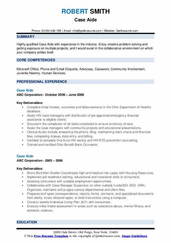 Case Aide Resume example