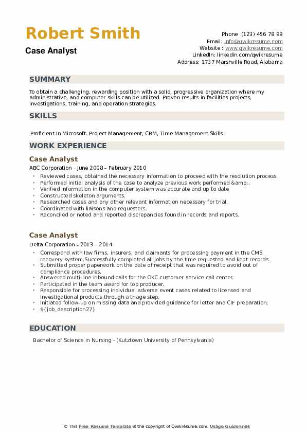 Case Analyst Resume example