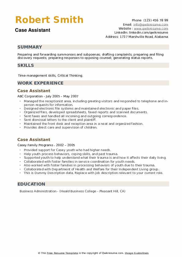Case Assistant Resume example