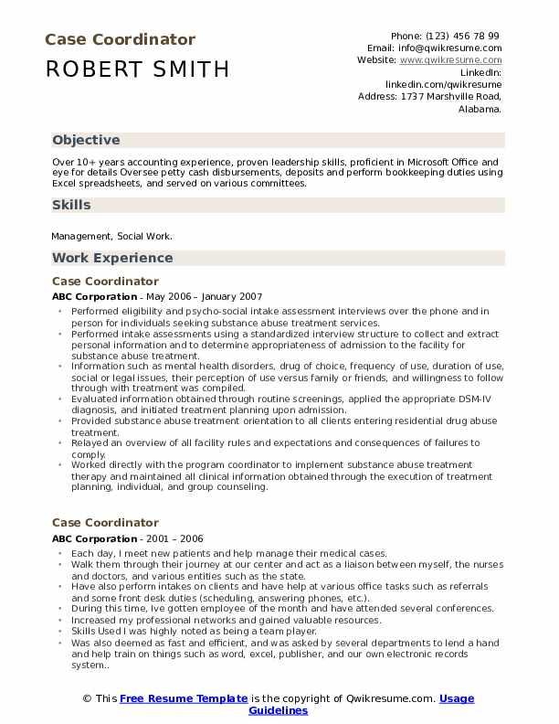 Case Coordinator Resume Format