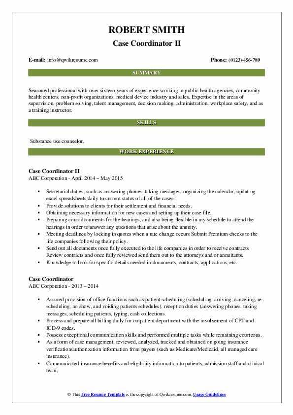 Case Coordinator II Resume Template