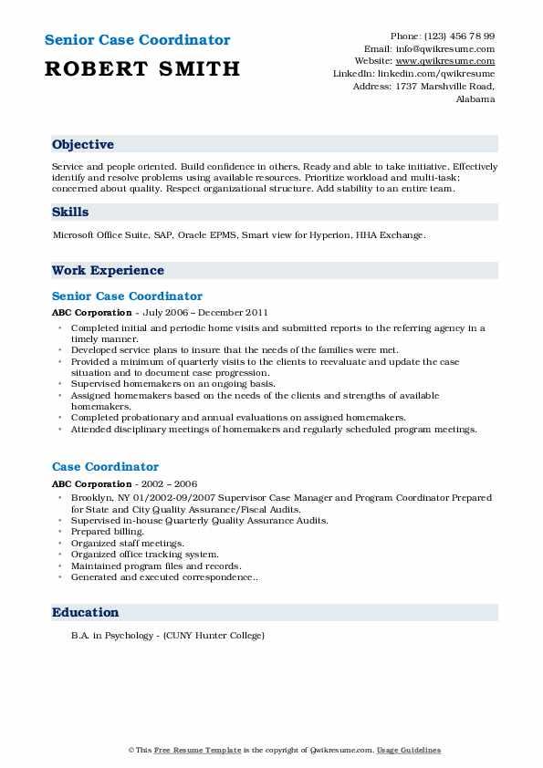 Senior Case Coordinator Resume Format
