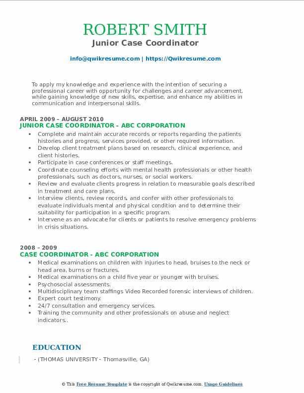 Junior Case Coordinator Resume Example