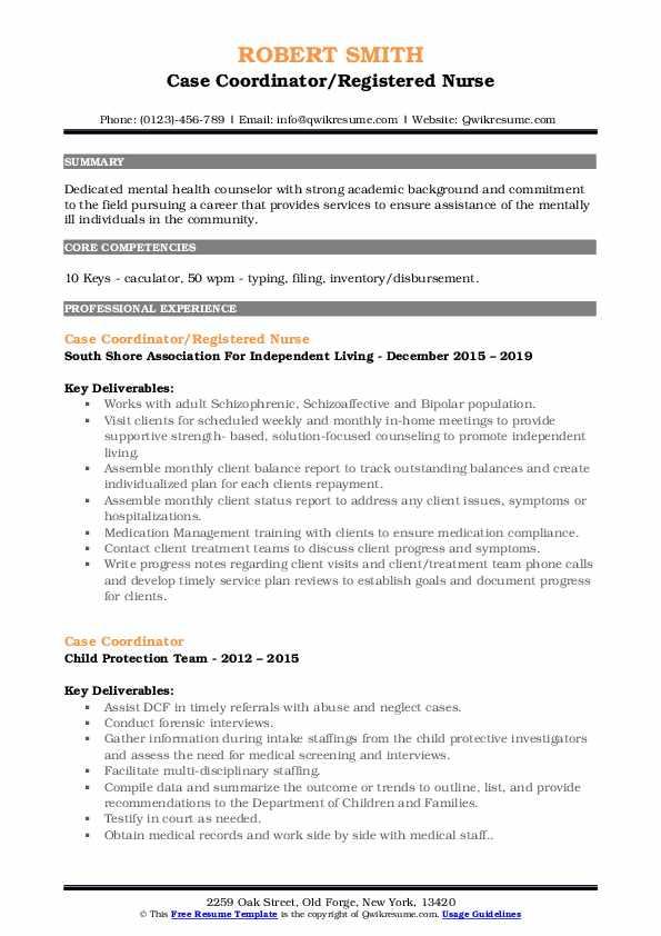 Case Coordinator/Registered Nurse Resume Model