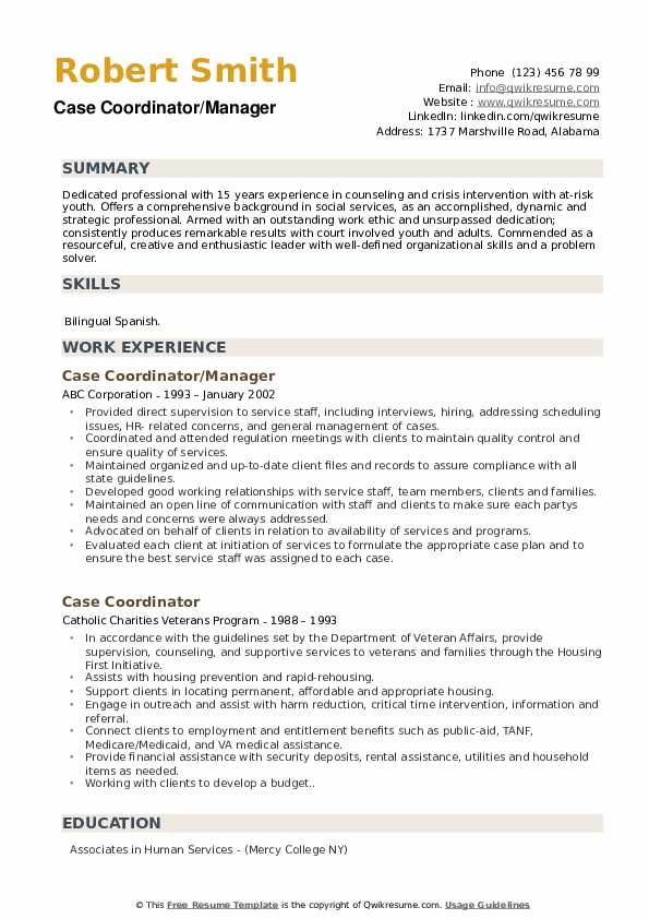 Case Coordinator/Manager Resume Example