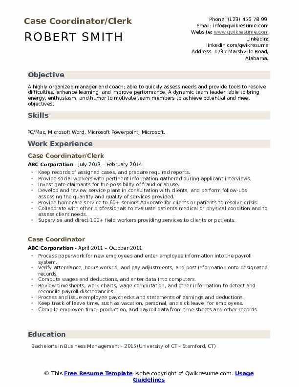 Case Coordinator/Clerk Resume Example