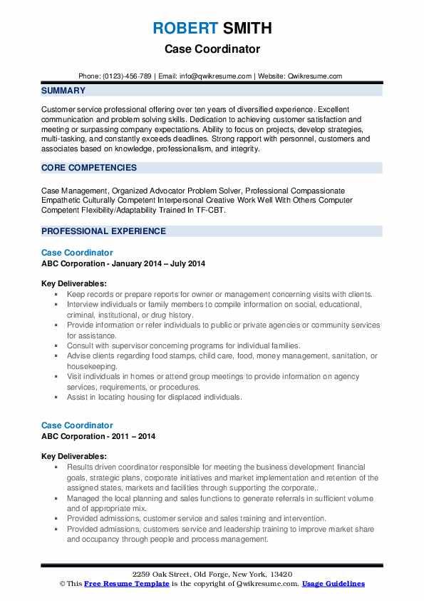 Case Coordinator Resume example