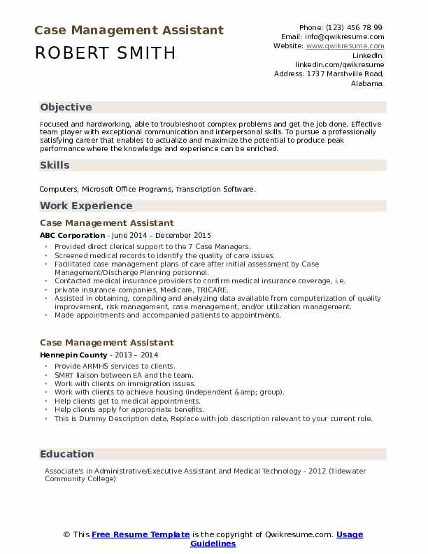 Case Management Assistant Resume example