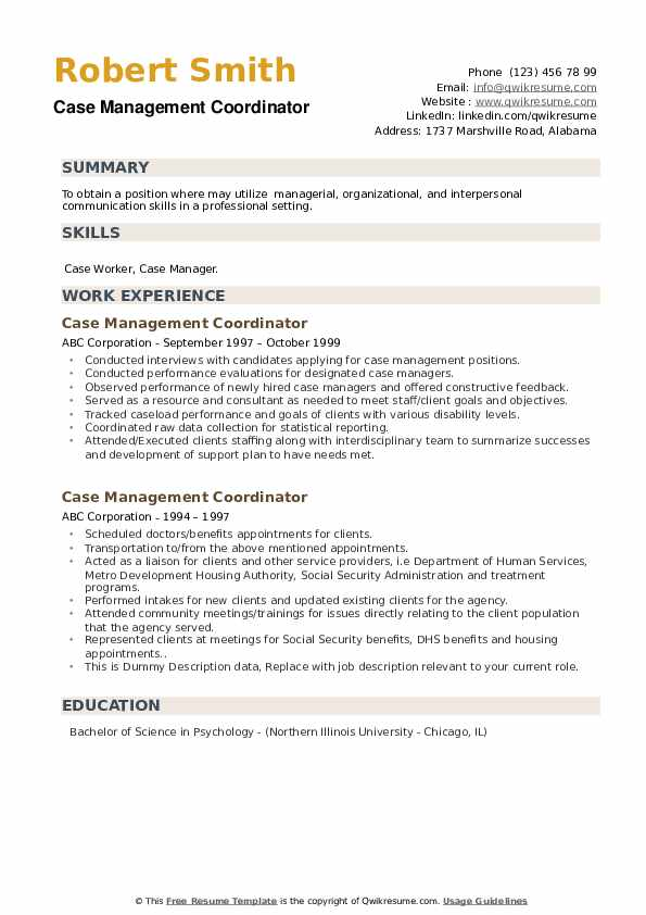 Case Management Coordinator Resume example