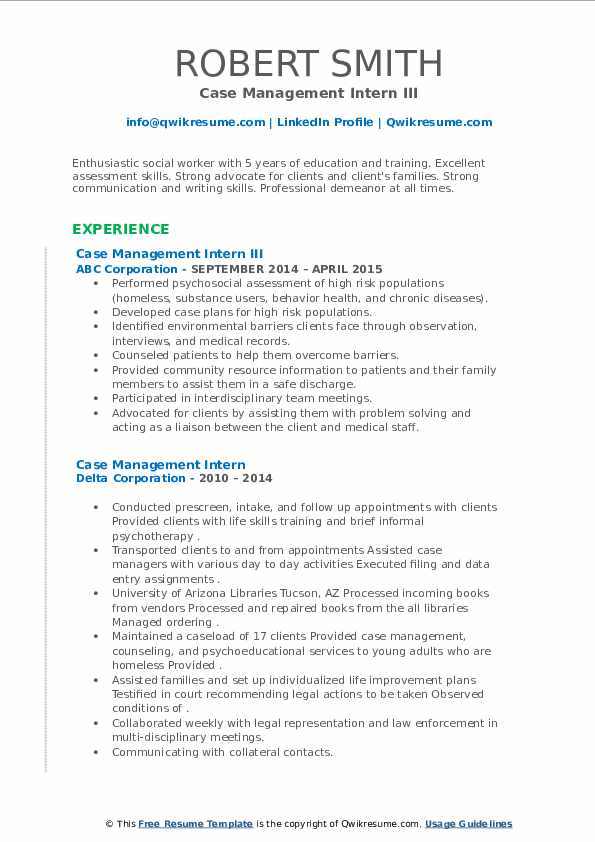 Male Std Diseases: Case Management Intern Resume Samples
