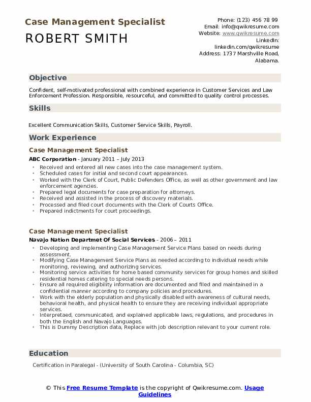 Case Management Specialist Resume example