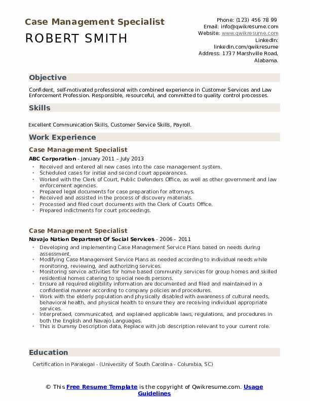 Case Management Specialist Resume example