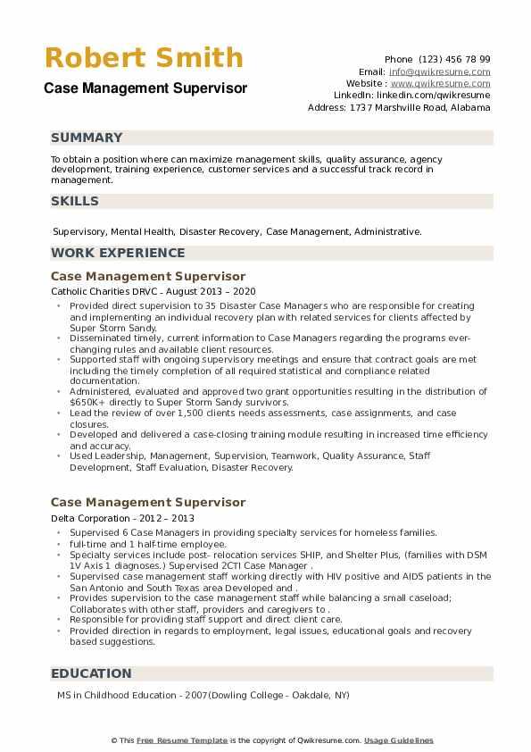 Case Management Supervisor Resume example