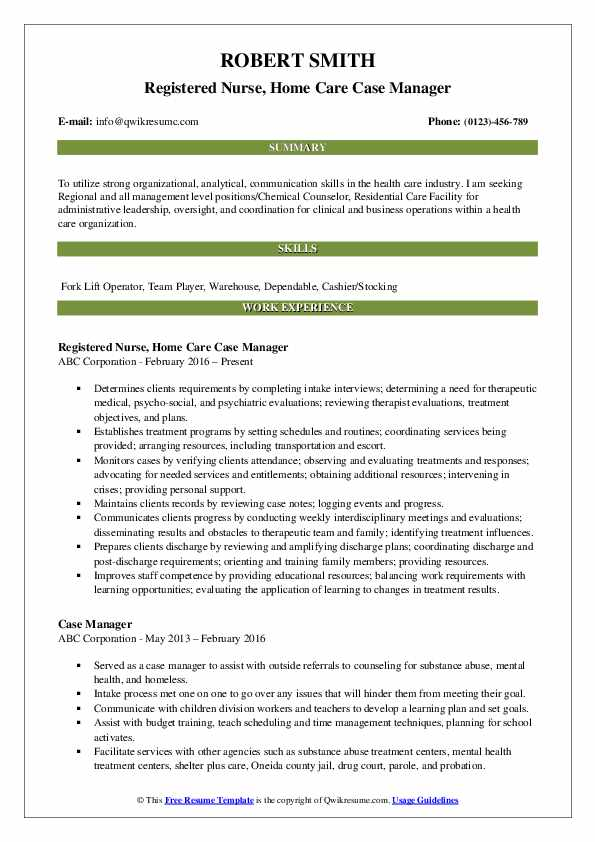 Registered Nurse, Home Care Case Manager Resume Template