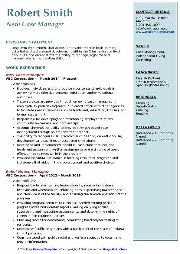 New Case Manager Resume Sample