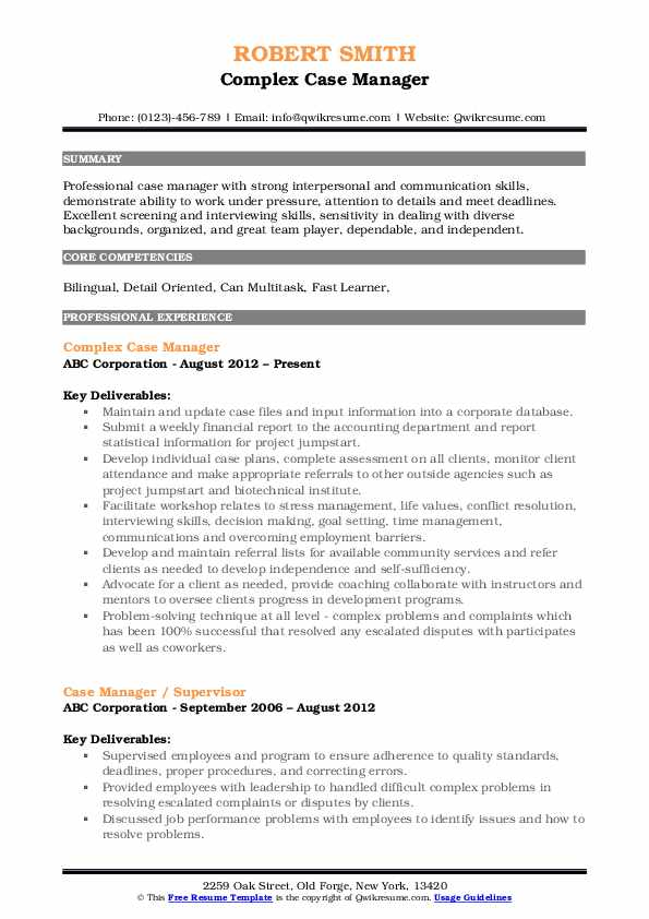 Complex Case Manager Resume Format