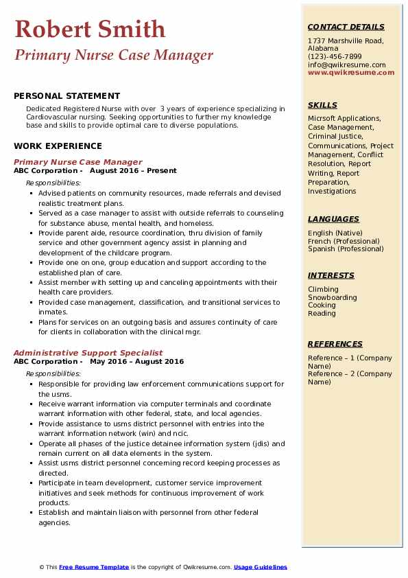 Primary Nurse Case Manager Resume Format
