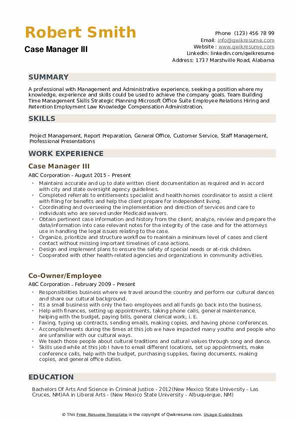 case manager resume samples