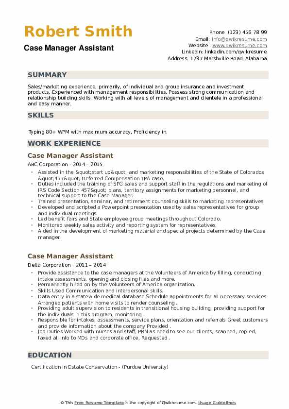 Case Manager Assistant Resume example