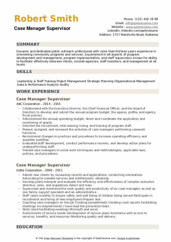 Case Manager Supervisor Resume example
