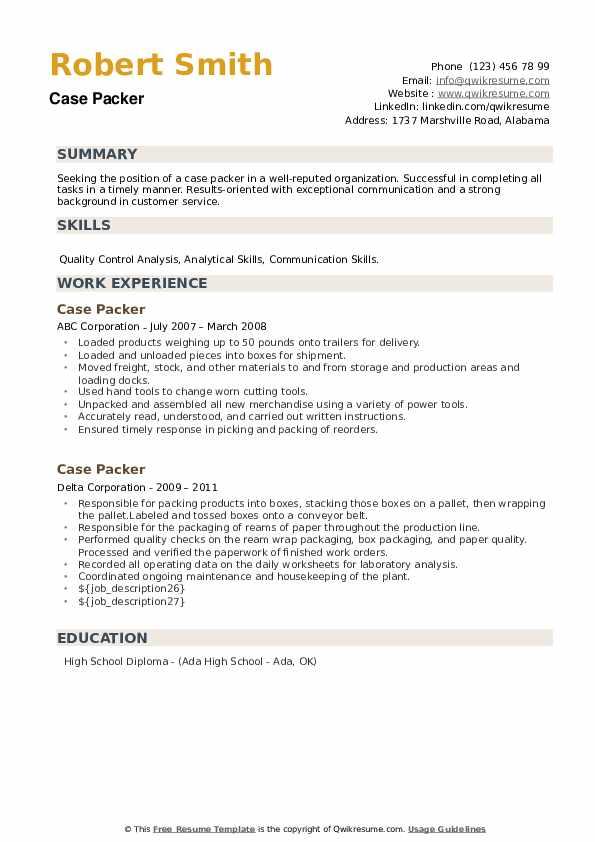 Case Packer Resume example