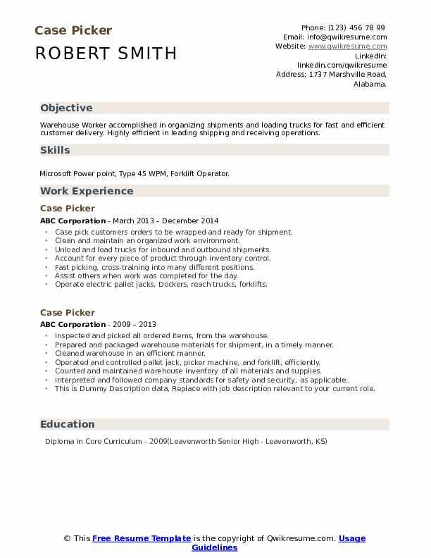 Case Picker Resume example